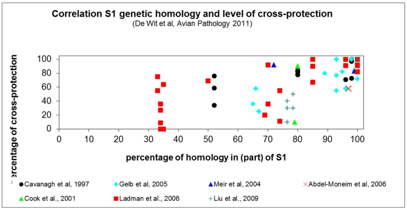 Correlação entre o nível de homologia na região S1 do gene S de cepas de IBV e o nível de proteção cruzada entre essas cepas, conforme relatado em sete publicações